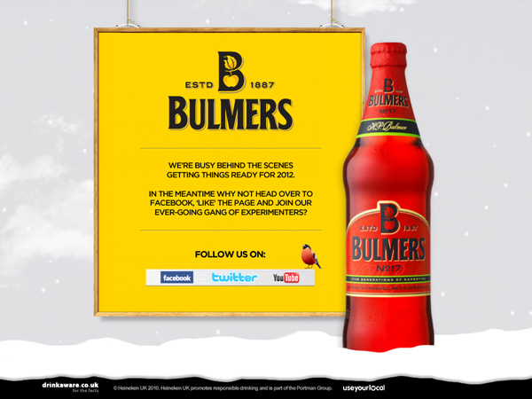 Bulmers winter holding page screenshot