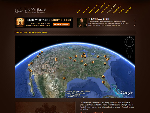 ericwhitacre.com world map screenshot